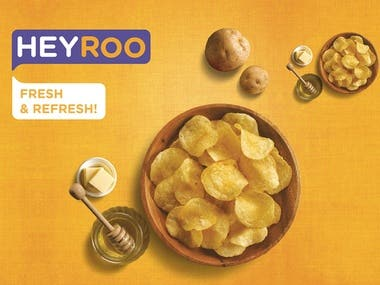 Heyroo potato chips poster design