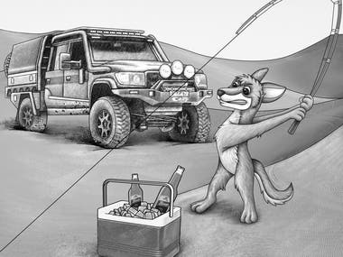 Grey concept art for 4WD car and fishing cartoon dingo