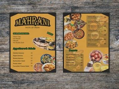 Indian Resturant Menu