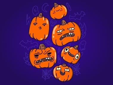 Pumpkins illustration for halloween