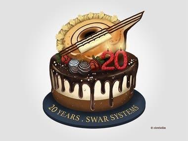 Digital drawings of a cake
