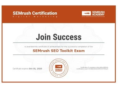 SEMrush SEO Toolkit Exam