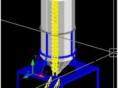 Verticle Steel Vessel in CAD