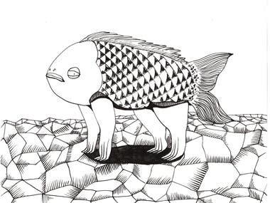 Fish without water - drawing