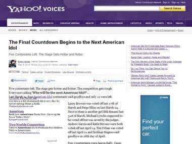 Yahoo Associated Content Article Writer