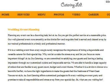 Web Content For A Catering Company