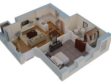 3D Rendered Floor Plan