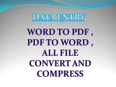 data entry all file convert and compress etc.
