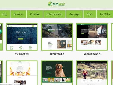 Sample landing pages and HTML themes