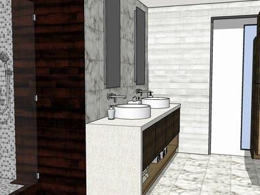 Master Bath - Design & 3D Modelling - Sketchup