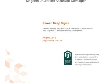 Magento 2.0 Associate Developer Certificate