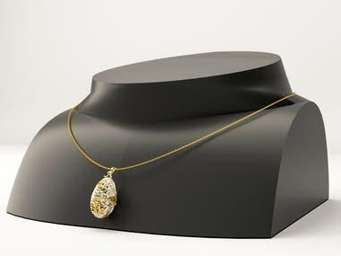 Egg necklace design.
