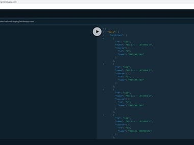User interface of GraphQL backend