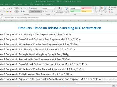 Excel Spreadsheet Of Products Listed On BriskSale & eCRATER