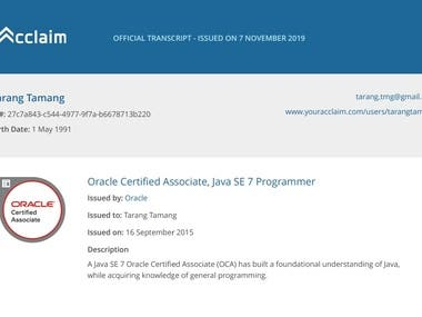 Oracle Certified Associate : Java Programmer SE7