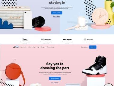 https://www.affirm.com / E-Commerce ReactJS website