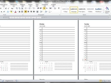 Proofreading 2020 planner