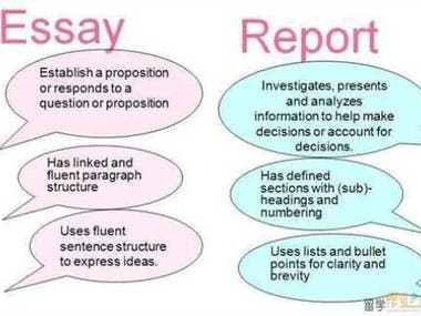 Structural Differences Between an ESSAY and a REPORT