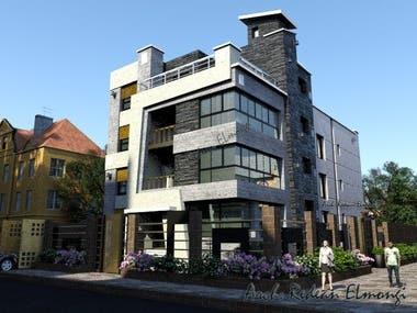 Villa facade design and render, interior render.