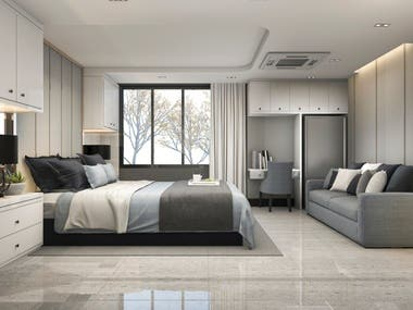 bed room interior design , vray rendering