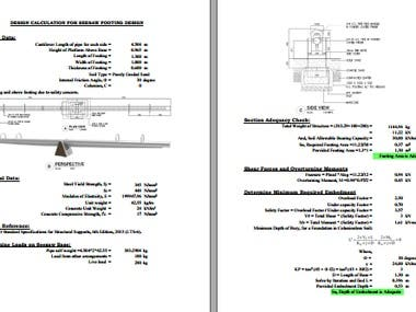 Design Calculation of Play Platform Footing Design
