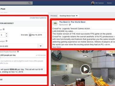 Facebook post Boost