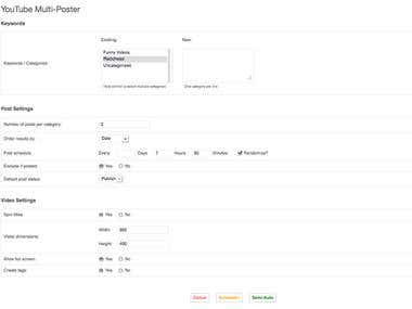 WordPress Plugin - Automated YouTube Search & Post