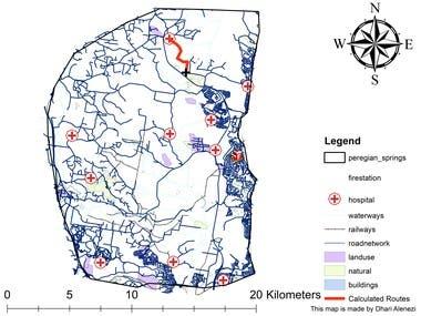 Network analysis of Peregian springs, Australia using ArcGIS