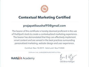 Hubspot Contextual Marketing Certificate
