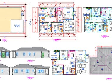 floor plan, elevation, electrical and plumbing