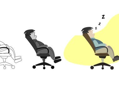 Illustration of sleeping man in a Chair
