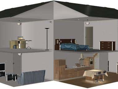 3D house cut away