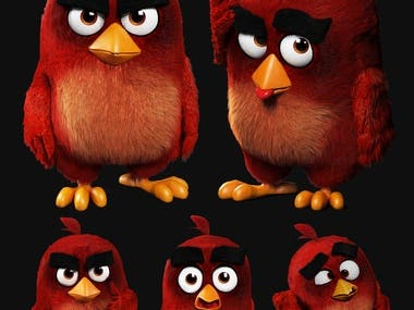 Angry Bird Red - modelling and rigging