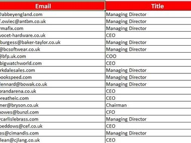 Email Extraction of UK Professional's