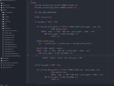 SQL code sample