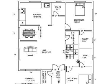 2 BHK Residential Plan
