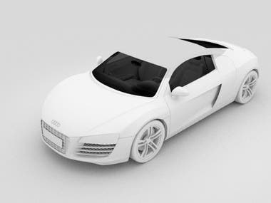 3D Modeling + Render   Car Audi R8