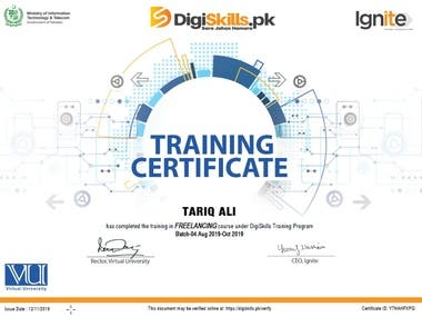 Certificate of Training completion for freelance