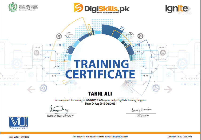 Certificate of Training completion for Wordpress