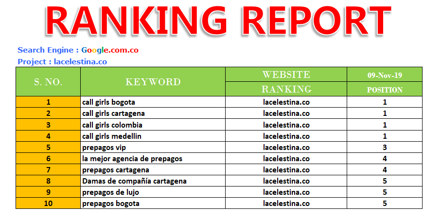 1st Page Ranking Report in Google.com.co