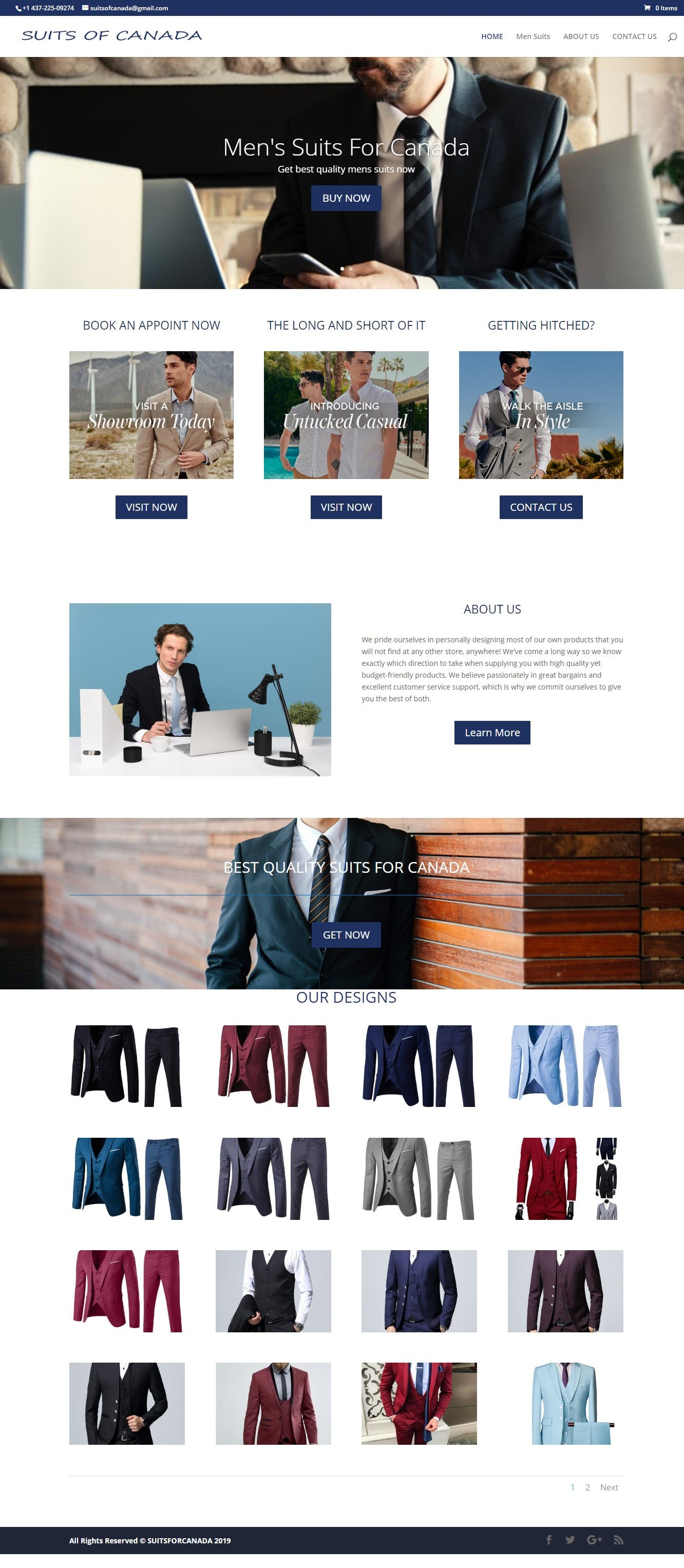 Suits for Canada, Woocommerce website