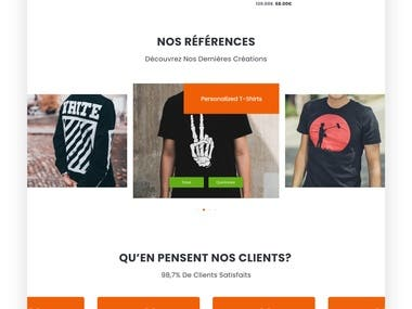 Homepage for ecommerce website
