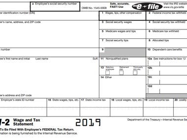 Form W-2, Wage and Tax Statement