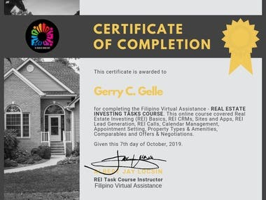 Certtificate on Real Estate Investing Task