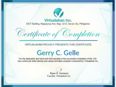 Certificate on Virtual Administrative Support