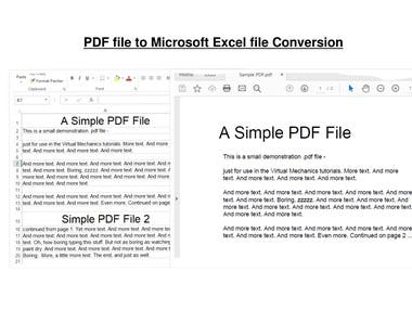 PDF to Ms Excel Conversion