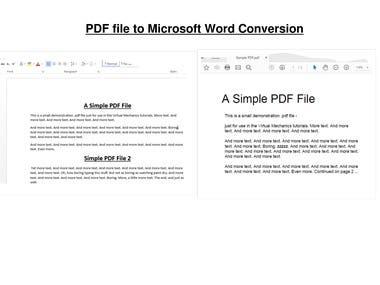 PDF to Microsoft Word Conversion