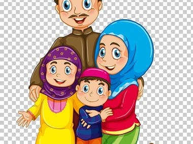 Arabic family illustration design