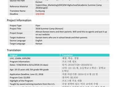translation work English to Korean