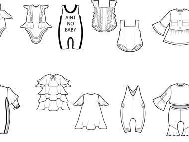 Flat technical drawings